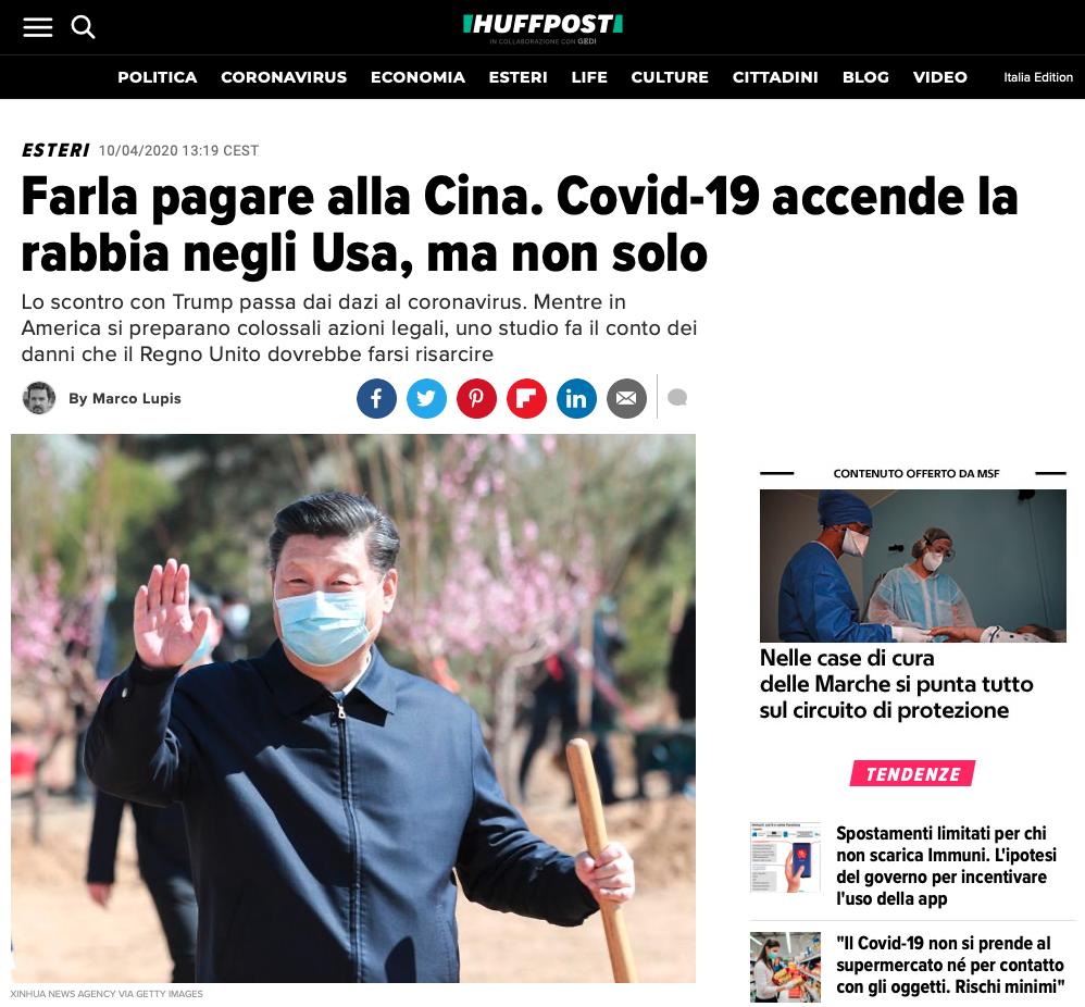 COVID-19: Tutti contro la Cina - In arrivo le class actions